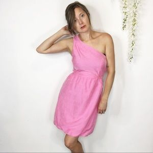 J. CREW one shoulder dress pink asymmetrical 0559